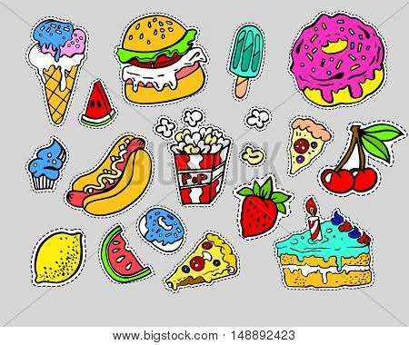 Fashion modern doodle cartoon patch badges or stickers with cute funky fast food elements. Set of cartoon pins in 80s 90s pop art. Vector Illustration.