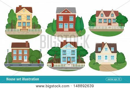 Set Cottage And Residential Houses Real Estate Building Town House Icons Isolated Of Detailed Colorf