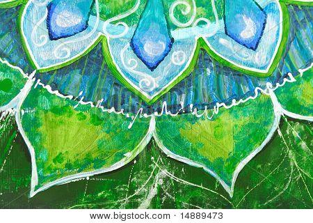 Closeup Of Bright Green Painted Picture With Circle Pattern, Mandala Of Anahata Chakra