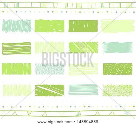 Vector collection of retro scribbled lines with hand drawn style of green color