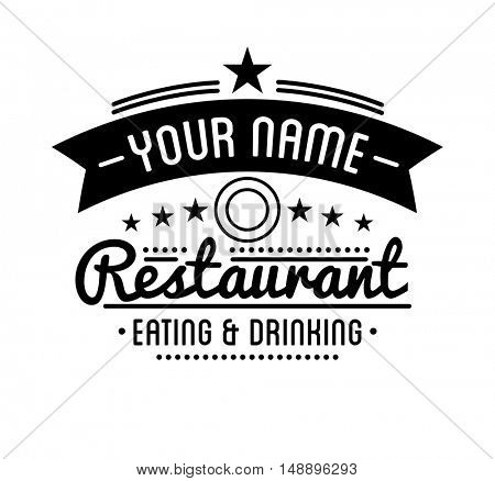 Vintage logo. Restaurant label template. Graphic design element for business: cafe, bar, pub. Vector Illustration isolated on white background.