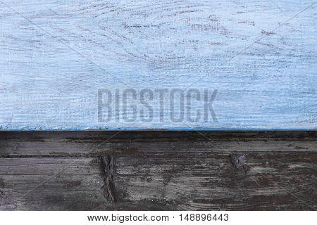 old wood boards, vintage blue background