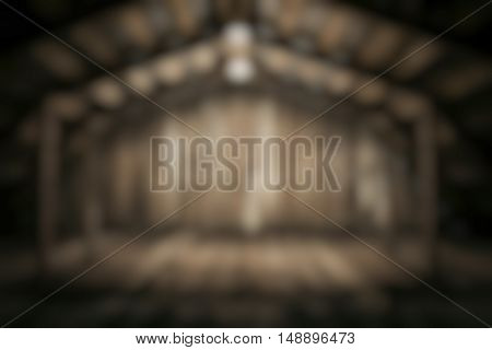 old wooden interior, blurred background