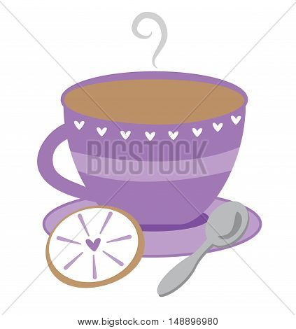 Cute Pretty Purple Tea Cup with Cookie