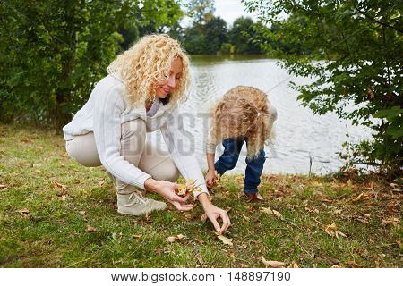 Woman and child collecting leaves in autumn at park
