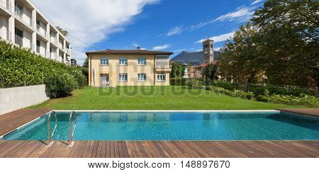 Swimming pool of a private residence in the suburbs, outdoors