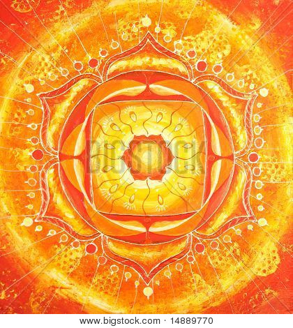 abstract orange painted picture with circle pattern mandala of svadhisthana chakra poster