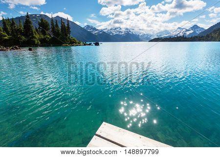 Hike to turquoise Garibaldi Lake near Whistler, BC, Canada.