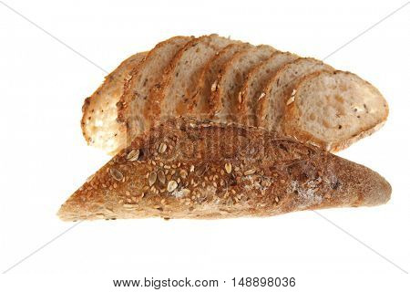 long french fresh rye baguette sliced isolated on white background