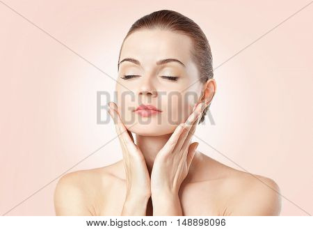 Beautiful young woman on color background. SPA concept.