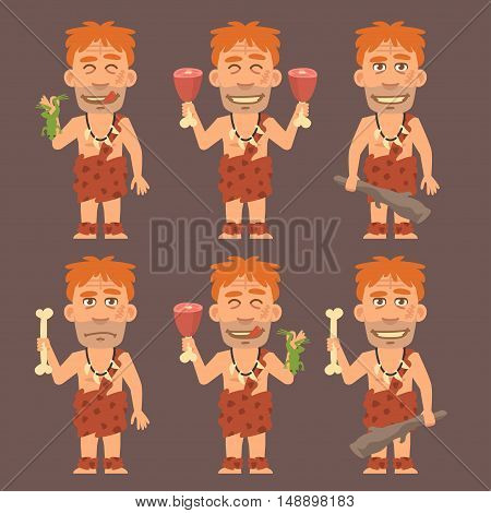 Vector Illustration, Neanderthal Holds Frog Meat and Cudgel, Format EPS 8