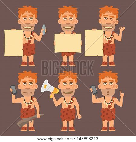 Vector Illustration, Neanderthal Holds Paper Phone and Megaphone, Format EPS 8