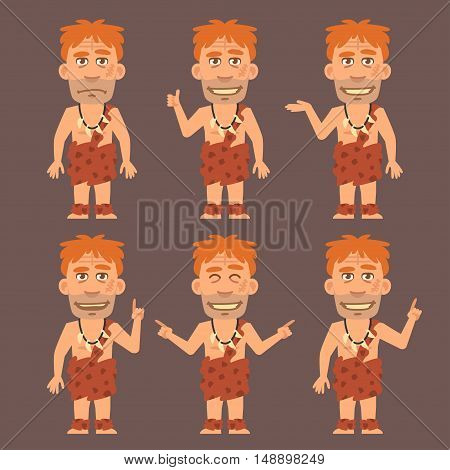 Vector Illustration, Neanderthal Shows and Indicates, Format EPS 8