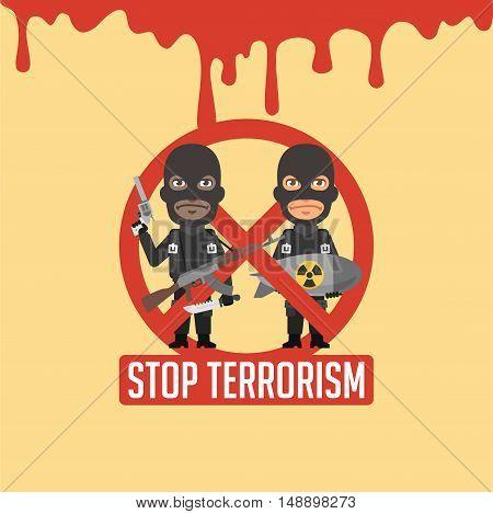 Vector Illustration, Terrorists Blood Prohibitory Sign, Format EPS 8