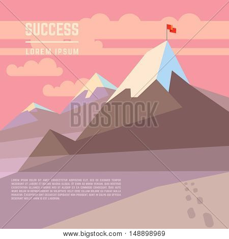 Flag on mountain vector success business achievement concept. Top peak and victory triumph illustration