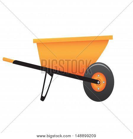 Large construction wheelbarrow on a white background. Vector illustration