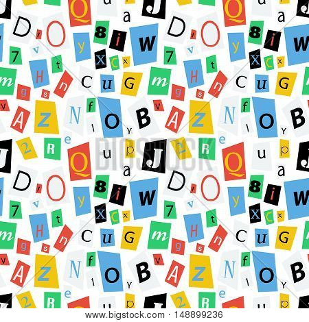 Colorful newspaper letters on white seamless pattern