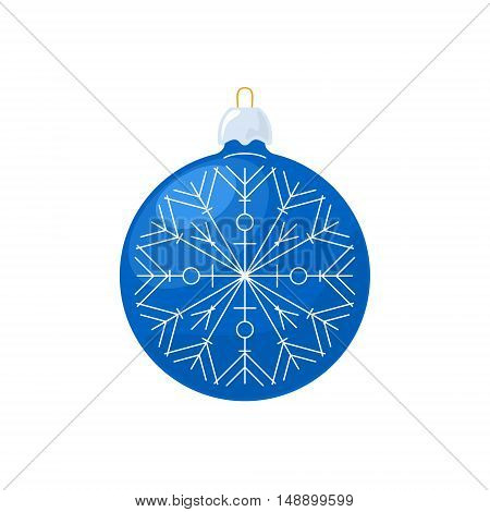 Christmas Blue Ball with Snowflake Isolated on White Background, Christmas Tree Decoration, Merry Christmas and Happy New Year, Vector Illustration