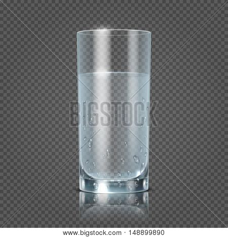 Glass of water isolated on transparent checkered background vector illustration. Cup with clear fresh aqua