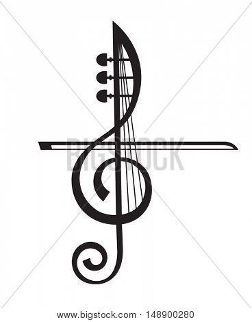 monochrome illustration of violin and treble clef