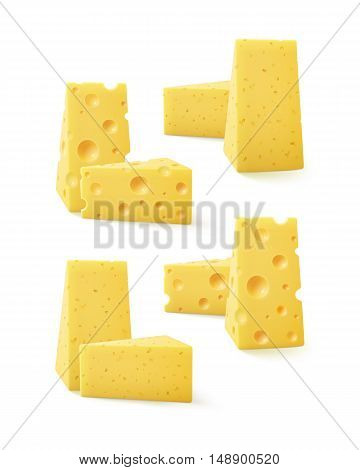 Vector Set of Triangular Pieces of Various Kind of Swiss Cheese Close up Isolated on White Background