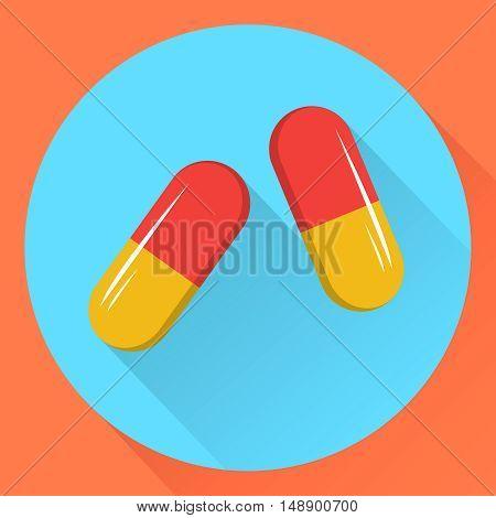 Two capsules. Flat design.Vector stock illustration. EPS10