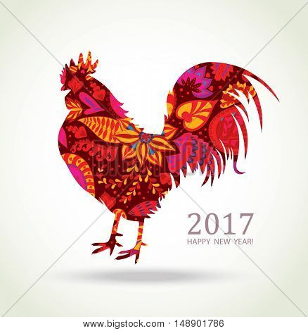 Red Rooster. New Year Greeting Card with Symbol of 2017 on the Chinese Calendar. Fire Cock with Floral Pattern.