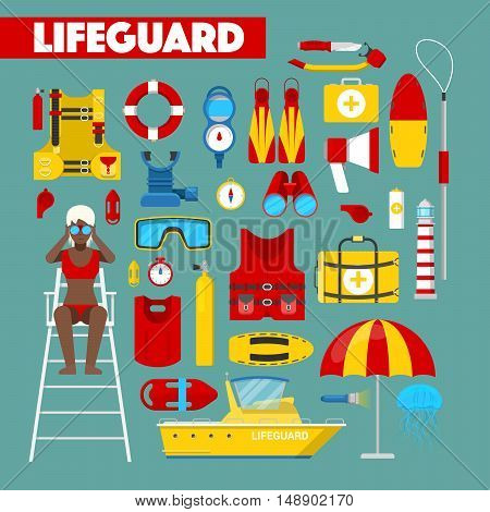 Profession Lifeguard Water Rescue with Safety Vector Icons