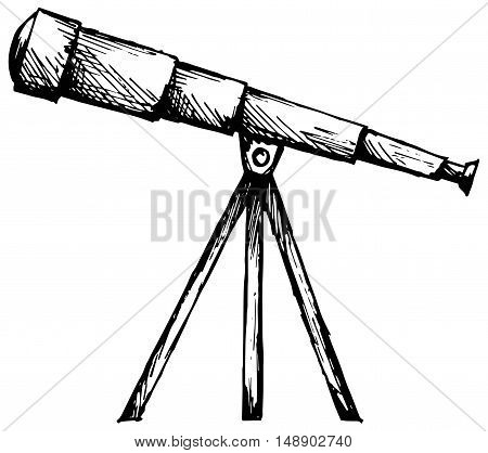 Telescope in tripod. Isolated on white background. Doodle style