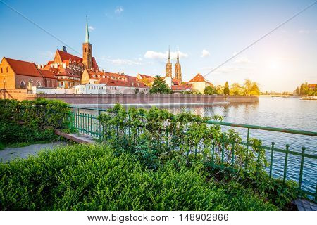 View of the ancient city Wroclaw. Picturesque scene. Location famous place Cathedral of St. John the Baptist Tumski island, Odra river, Poland, Europe. Historical capital of Silesia. Beauty world.