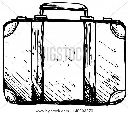 Suitcase Travel. Isolated on white background. Doodle style