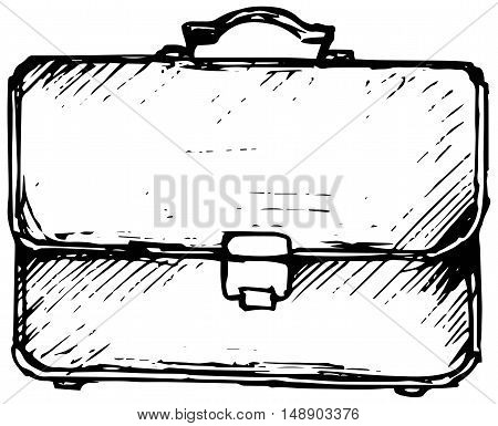 Business bag. Isolated on white background. Doodle style