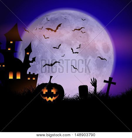Spooky Halloween background with haunted house and pumpkins