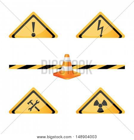 Vector illustration of set of under construction sign