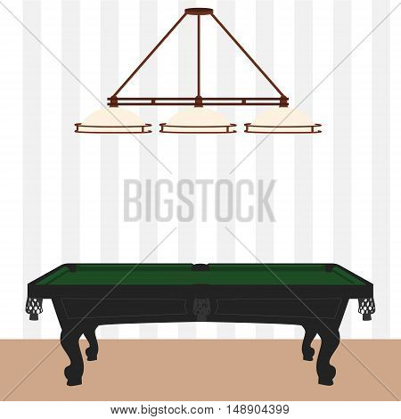 Vector illustration retro vintage pool table with green cloth and lamp with three shades. Empty billiard table