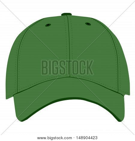 Vector illustration of green baseball cap front view isolated on white background. Baseball cap template design