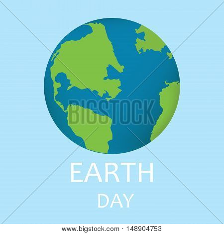 Vector illustration realistic earth planet isolated on white background. Globe icon. Earth icon. Earth day poster concept.