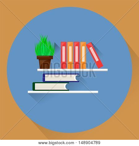 Plant in the pot and folders on shell. Vector stock illustration. Flat style