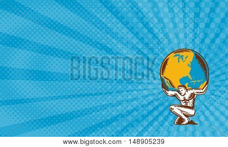 Business Card showing Illustration of Atlas kneeling carrying lifting globe world earth on his back set on isolated white background done in retro woodcut style.