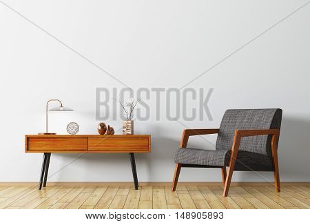 Interior With Wooden Side Table And Armchair 3D Rendering