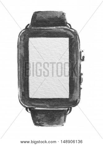 Isolated watercolor black smartwatch on white background.