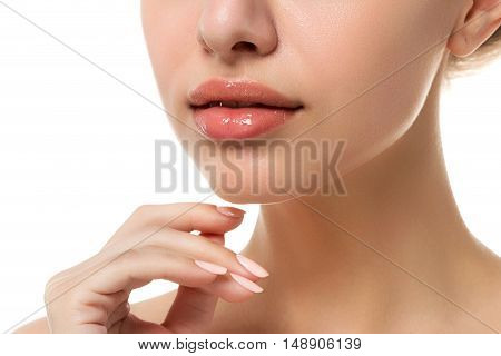Close Up View Of Young Beautiful Caucasian Woman Face