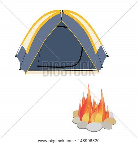Camping equipment grey camping tent campfire with stones vector illustration. Camping gear icon set