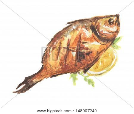 Isolated watercolor baked fish on white background. Healthy and tasty seafood with lemon and herbs. Restaurant menu.