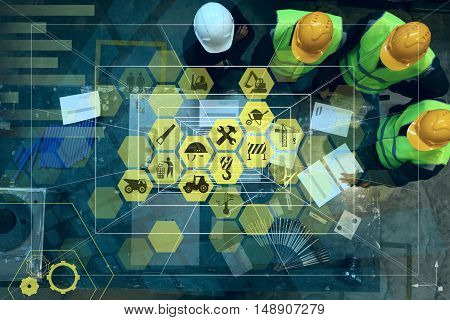Abstract industry concept. Workers at factory and conceptual graphic design with manufacturing icons