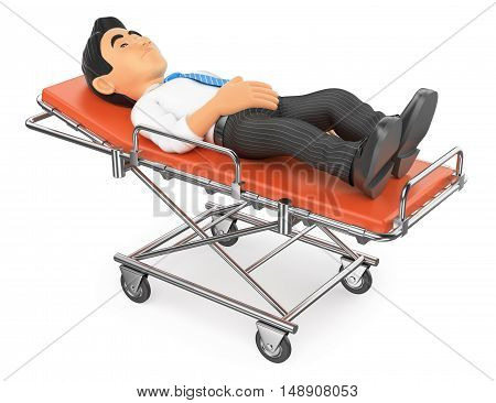 3d medical people illustration. Businessman lying on a stretcher in the hospital. Isolated white background.
