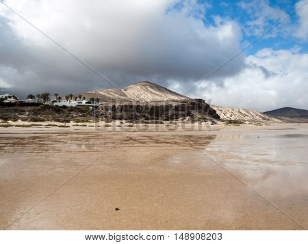 The famous lagoon in Risco El Paso at Playas de Sotavento Fuerteventura