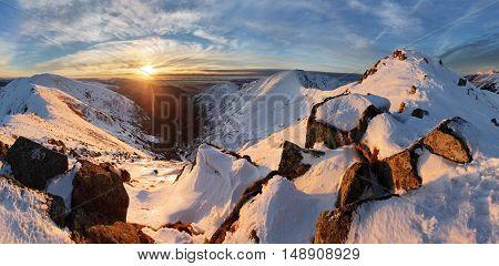 Nice Panorama winter landscape in mountain Slovakia