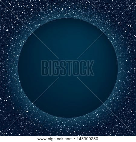 Vector Blue Round frame. Stars on the dark blue sky. Starry night sky. Blue planet on a dark blue sky with stars.