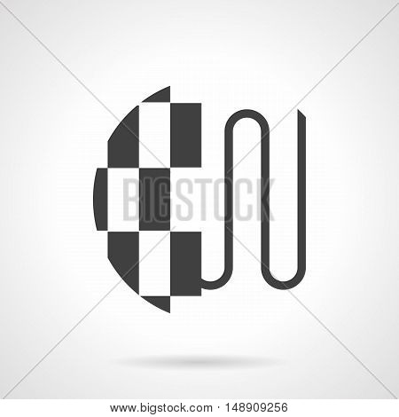 Modern heating systems. Heated floor model - pipeline or wires under a tile for bathroom or kitchen. House improvement services. Monochrome black flat design vector icon.
